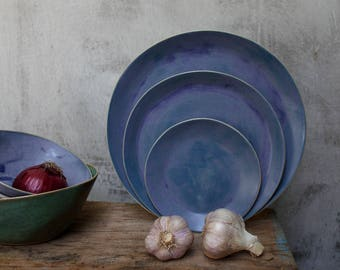 blue wabi sabi dinner plates