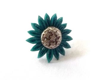 Forest Green Chiffon Flower Ring Adjustable Statement Jewelry Tsumami Kanzashi