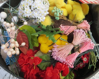 Millinery Flowers, Leaves, and More Large Lot of Millinery Supplies Leaves Flowers Puffs Much More Bright and Lovely Some from Japan