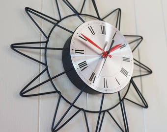 Vintage Starburst Wall Clock - Sunburst Atomic Eames Era Mid Century Modern 1950's 60's Black Silver