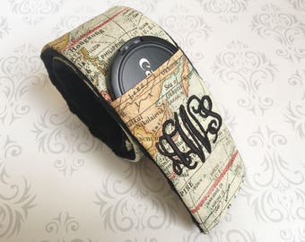 Monogrammed Camera Strap Cover Padded with Lens Cap Pocket and Minky, Photographer Gift, Canon, Nikon, DSLR - Color Map with Black