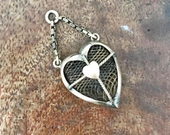Antique Victorian Mourning Hair Heart Charm