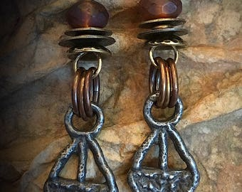 Artisan Earrings #18....Primitive earrings glass and metal