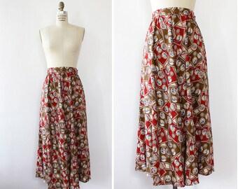 Novelty Skirt L • Vintage Midi Skirt • Button Up Skirt • Rayon Skirt • 90s Skirt • Map Print Skirt • Slit Skirt • Flare Skirt | SK885