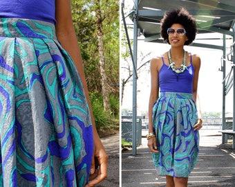 Flora Kung Silk Skirt S • 80s Skirt • High Waisted Skirt • Jacquard Skirt • Vintage Print Skirt • Bubble Hem Skirt with Pockets | SK870