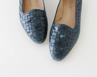 90s Flats 7 • Woven Leather Flats • Teal Leather Shoes • Enzo Angiolini Shoes • 90s Shoes • Woven Leather Shoes • Teal Flats   SH514