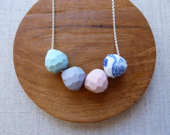 Faceted Droplet Porcelain Necklace Silver Chain