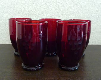 Set of 5 Vintage Ruby Red  Glasses with Etching Pattern- Mid Century - Small Size