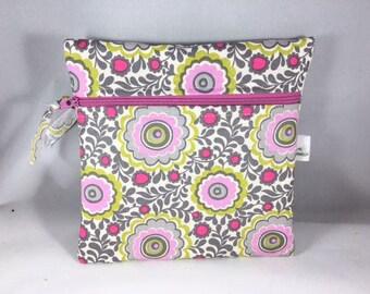 Wet Bag Cloth Pad Wet Bag Pink Gray Posies