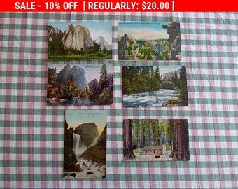 YOSEMITE National Park Lot of 6 ORIG. Vintage Postcards Vernal Falls Merced River Cathedral Rocks