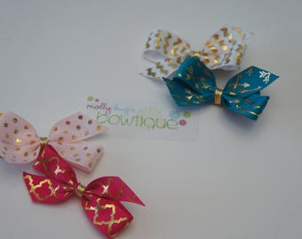 Gold Accent Bow Set Headband OR clip YOU PICK