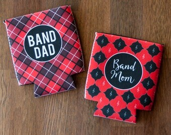 Pair of Can Coolie or Cozies Insulator Sleeves - Band Mom and Band Dad - Red and Black