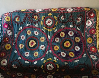 Vintage Uzbek silk hand embroidery on cotton suzani. Bed cover, wall hanging, home decor suzani. SW066