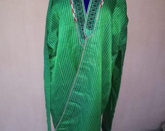Antique Uzbek green silk long chapan. Antique silk kaftan, tribal ethnic robe