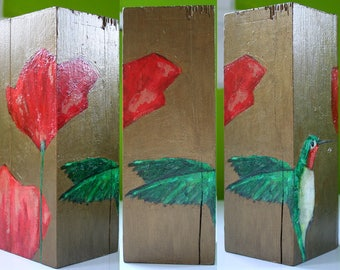 poppy flowers & ruby throated hummingbird sculpture original painting multi-sided a2n2koon irregular shaped rustic reclaimed wood ornate art