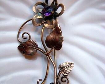 ANNIVERSARY SALE I. Michelson Purple Flower 12K Gold Filled Brooch