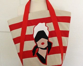 John Willie Bizarre/ Red & Beige Striped/Quilted Cotton Canvas /Tote/Bucket bag.