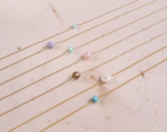 Minimalist Bead Necklace | Beaded Necklace | Dainty Gold Chain Necklace | Layering Necklace | Bead Necklace | Boho Necklace