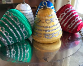Lot of 5 Satin and Glitter 1950s Midcentury Modern Christmas Bell Ornaments / 1950s Satin Bell Tree Ornaments / 1950s