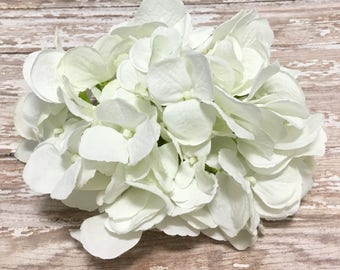 Jumbo Artificial White Hydrangea Head - Top Quality Artificial Flowers, Silk Flowers, Wedding, Flower Crown, Hair Accessories, Millinery