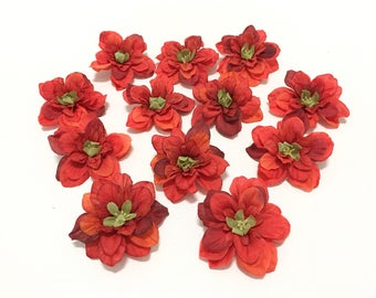 12 Tomato Red Artificial Delphinium Blossoms - Artificial Flowers, Silk Flowers, Flower Crown, Hair Accessories, Corsage, Millinery, Tutu