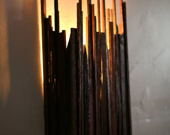 """Wine Barrel Cityscape Wall Sconce - CITY - """"Block"""" --100% RECYCLED"""