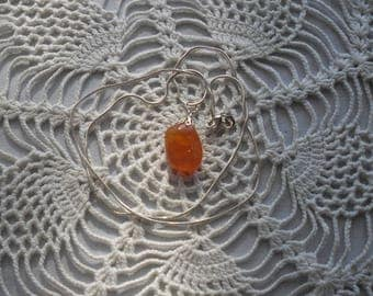 Carnelian Agate Pendant with 24 inch silver toned snake chain and lobster clasp
