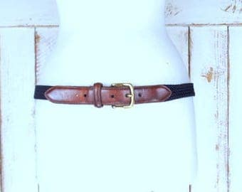 Vintage dark navy blue braided woven stretch chord canvas leather belt/woven rope belt/38