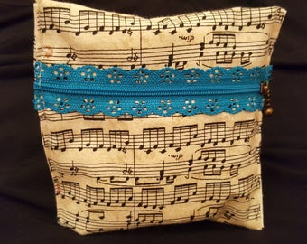 Zippered pouch /coin purse musical notes