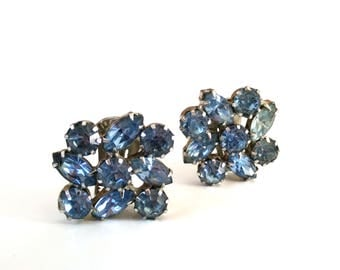Blue Weiss Rhinestone Earrings / Designer Signed Clip on Earrings / Vintage Costume Jewelry