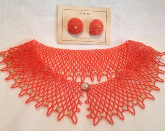 Orange Seed  Bead Collar // Necklace // Clip Earrings // Made in Italy //  Vintage