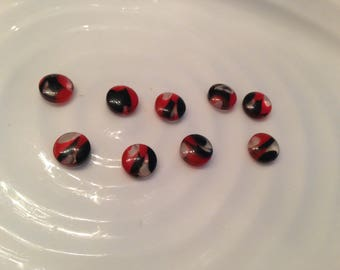 All the same button - 9 vintage red, black and clear plastic shank buttons