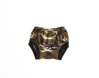 camo bloomies AND shorties / diaper cover / baby shorts / toddler shorts / newborn to 3T / baby bloomers