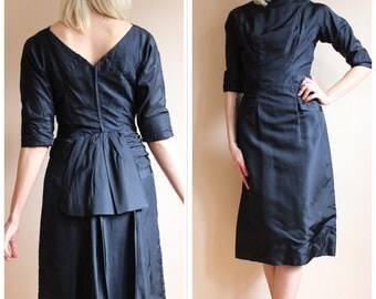 1950s Dress // Midnight Blue RAPPI Silk Cocktail Dress // vintage 50s dress