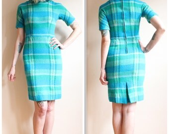 1960s Dress // L'Aiglon Wool Plaid Sheath Dress // vintage 60s dress