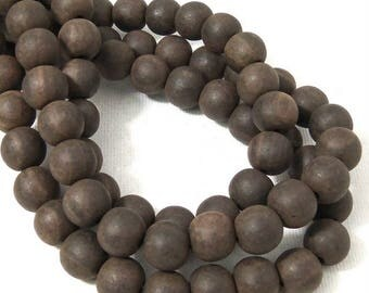 Unfinished Ebony Wood Bead, 10mm, Dark Brown to Near Black, Round, Small, Natural Wood Bead, 16 Inch Strand - ID 2357