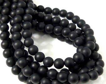 Matte Black Onyx Bead, 6mm, Round, Smooth, Black, Gemstone Beads, 15.5 Inch Strand - ID 2221