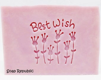 SoapRepublic 'Best Wishes' Acrylic Soap Stamp / Cookie Stamp / Clay Stamp