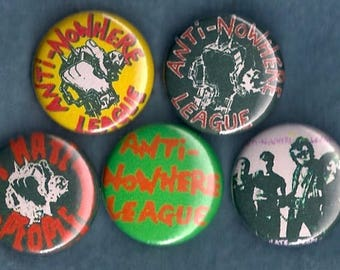 """Anti-Nowhere League 1"""" Pins Buttons Badges Set 5 UK Punk Rock Metal 1980s"""