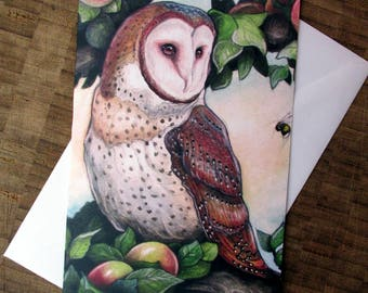 Barn Owl in Apple Tree Greeting Card