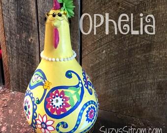 chicken, hen, rooster, bird, gourd, gourd art, paisley, yellow, housewarming gift, birthday gift, chicken lover