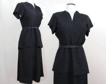 Black Rayon Dress w/ pintucked bodice & peplum - Lg misses- 1940s-50s