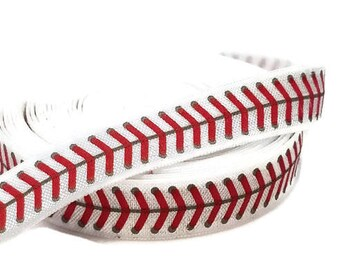 "Baseball Fold Over Elastic - 5/8"" FOE - Elastic for Hair ties and headbands - Decorative Elastic - Red and  White FOE"