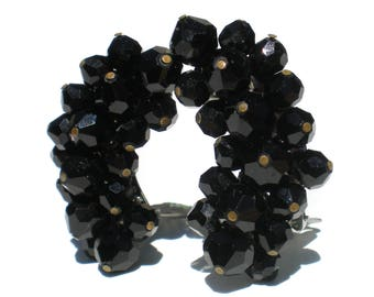 Black Cluster Clip Earrings Curved Ear Climber Design Faceted Black Beads on Silver Tone - Vintage Jewelry