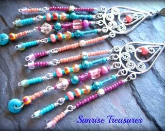 Extra Long Boho Chic Beaded Chandelier Earrings, Seed Bead Earrings, Pastel Crystal Fringe Earrings, Turquoise and Pink Boho Earrings