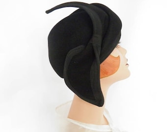 Black 1960s hat, vintage 60s tilt, Adolfo II New York Paris, percher hat