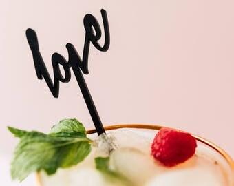 Modern Love 4 CT. Drink Stirrers, Stir Sticks, Swizzle Sticks, Laser Cut, Weddings, Bridal Shower, Bachelorette Party, Valentine's Day