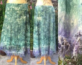 Mermaid Pixie Lace Up Skirt, Maxi skirt, 3/4 Skirt, Aline skirt, Hand dyed, Tie Dyed Skirt, XSmall