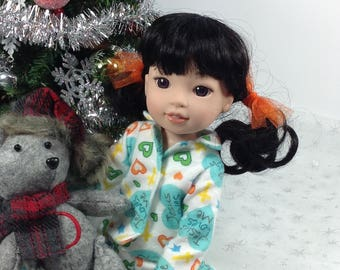 14 inch doll clothing-fits like Wellie Wishers-FlannelPajamas-Christmas-stocking stuffer
