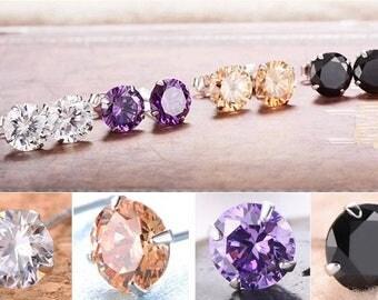 925 Silver Classic Swarovski Crystal Lab Diamond Cutting Stud Earrings Gift